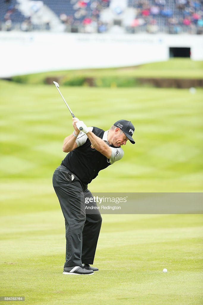 <a gi-track='captionPersonalityLinkClicked' href=/galleries/search?phrase=Lee+Westwood&family=editorial&specificpeople=171611 ng-click='$event.stopPropagation()'>Lee Westwood</a> of England swing sequence during the Pro-Am prior to the BMW PGA Championship at Wentworth on May 25, 2016 in Virginia Water, England.