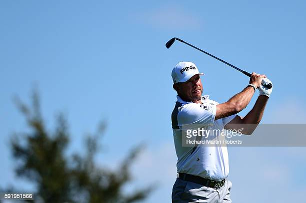 Lee Westwood of England takes his second shot on the 8th hole during day two of the DD REAL Czech Masters at Albatross Golf Resort on August 19 2016...