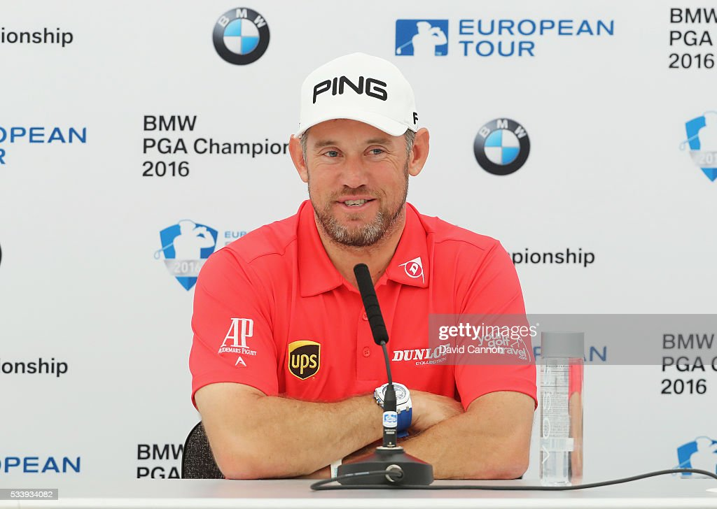 <a gi-track='captionPersonalityLinkClicked' href=/galleries/search?phrase=Lee+Westwood&family=editorial&specificpeople=171611 ng-click='$event.stopPropagation()'>Lee Westwood</a> of England talks during a press conference prior to the BMW PGA Championship at Wentworth on May 24, 2016 in Virginia Water, England.