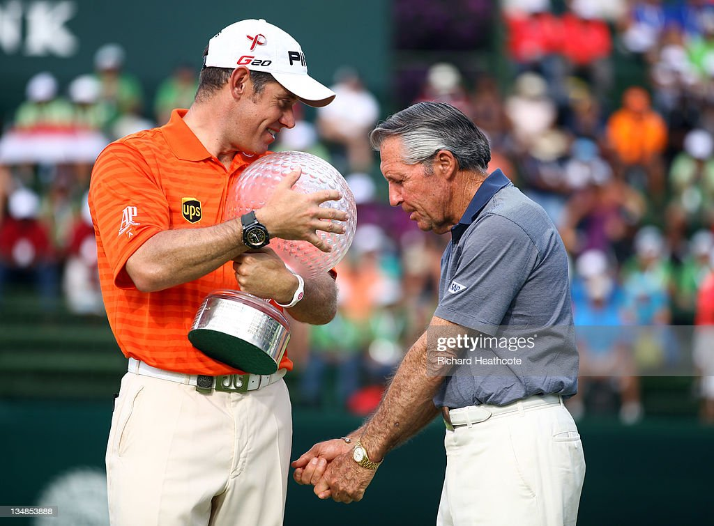 Lee Westwood of England talks with tournament host Gary Player after the final round of the Nedbank Golf Challenge at the Gary Player Country Club on December 4, 2011 in Sun City, South Africa.