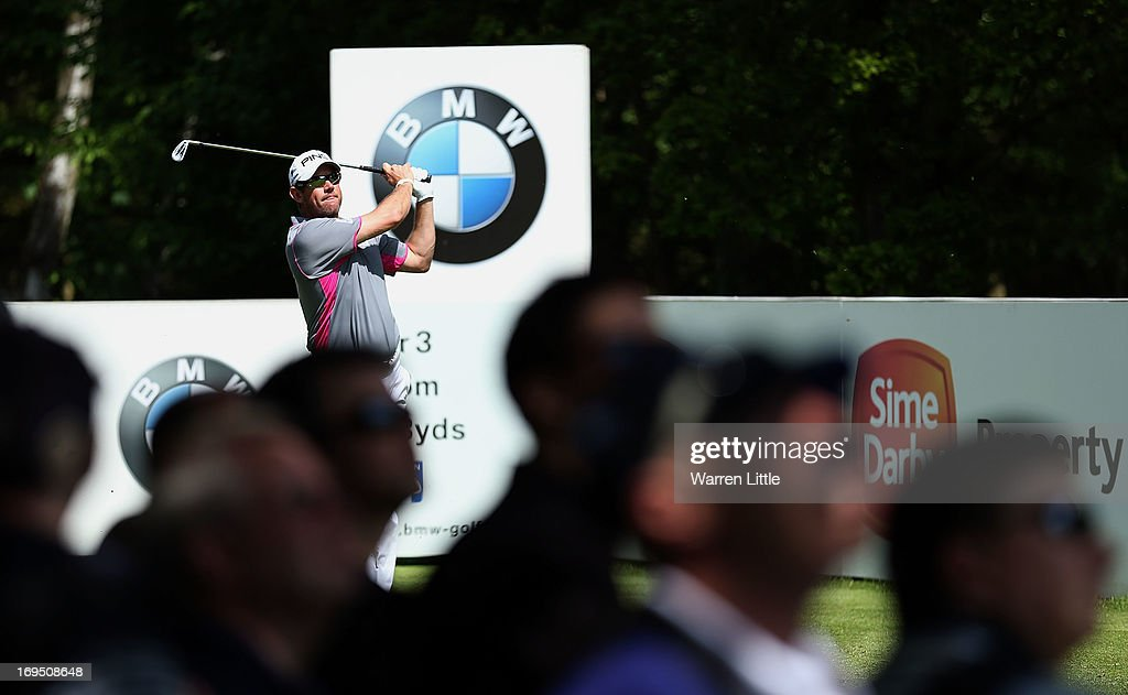<a gi-track='captionPersonalityLinkClicked' href=/galleries/search?phrase=Lee+Westwood&family=editorial&specificpeople=171611 ng-click='$event.stopPropagation()'>Lee Westwood</a> of England tees off during the final round of the BMW PGA Championship on the West Course at Wentworth on May 26, 2013 in Virginia Water, England.