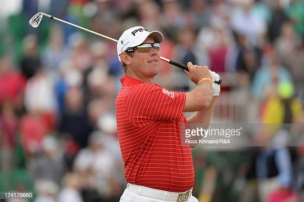 Lee Westwood of England tees off on the 12th hole during the final round of the 142nd Open Championship at Muirfield on July 21 2013 in Gullane...