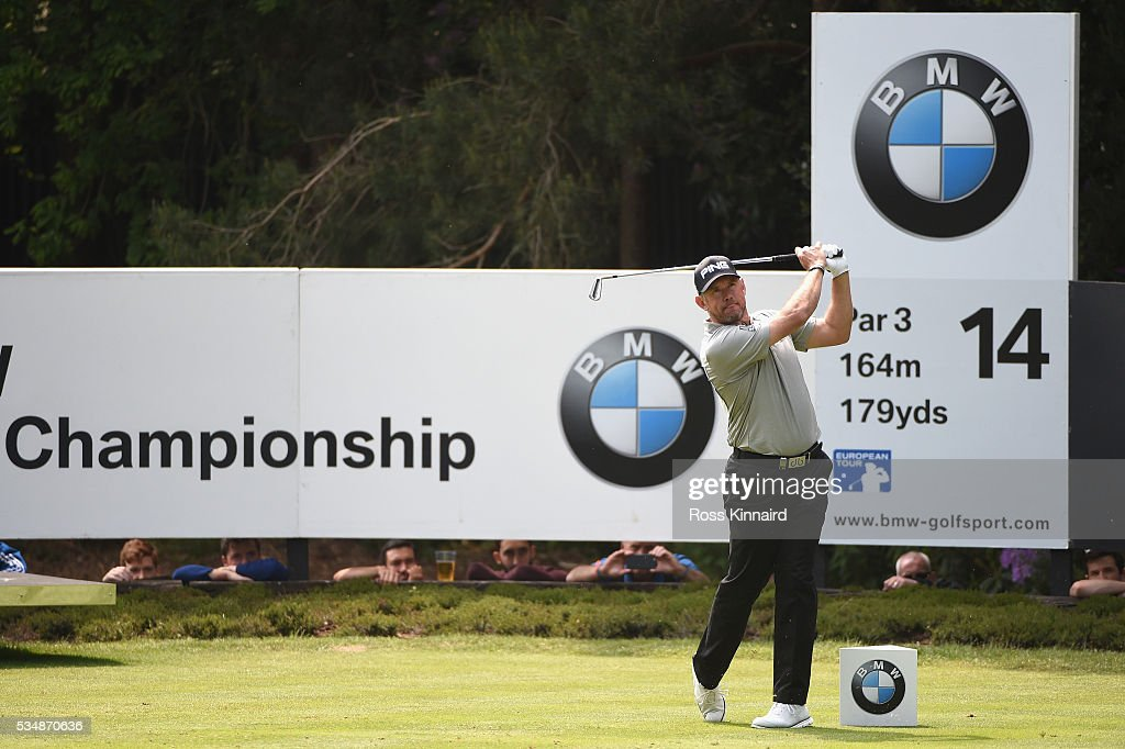 <a gi-track='captionPersonalityLinkClicked' href=/galleries/search?phrase=Lee+Westwood&family=editorial&specificpeople=171611 ng-click='$event.stopPropagation()'>Lee Westwood</a> of England tees off on the 14th hole during day three of the BMW PGA Championship at Wentworth on May 28, 2016 in Virginia Water, England.