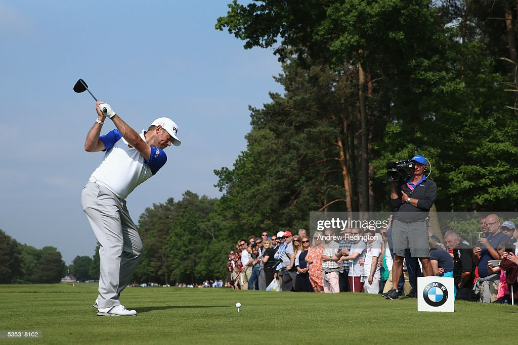 <a gi-track='captionPersonalityLinkClicked' href=/galleries/search?phrase=Lee+Westwood&family=editorial&specificpeople=171611 ng-click='$event.stopPropagation()'>Lee Westwood</a> of England tees off on the 15th hole during day four of the BMW PGA Championship at Wentworth on May 29, 2016 in Virginia Water, England.