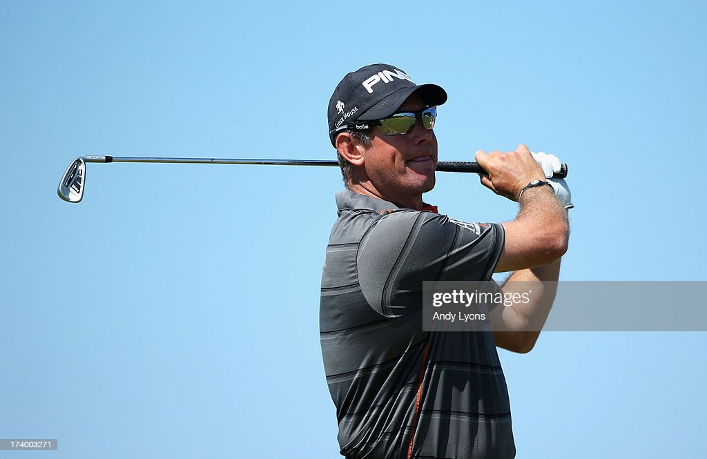 Lee Westwood of England tees off on the 16th during the second round of the 142nd Open Championship at Muirfield on July 19, 2013 in Gullane, Scotland.
