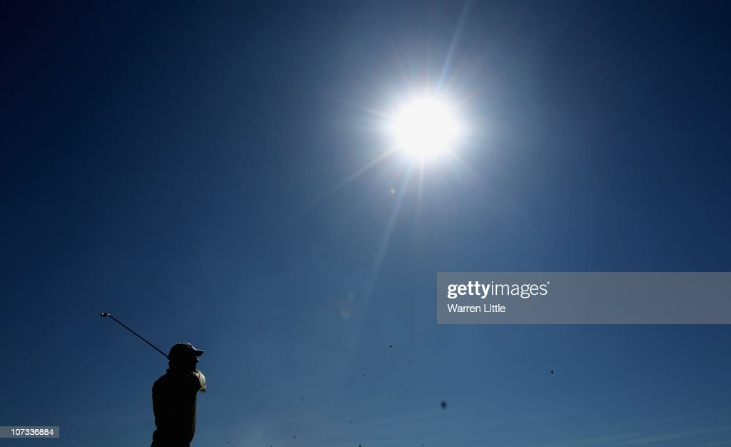 Lee Westwood of England tees off on the 16th hole during the final round of the 2010 Nedbank Golf Challenge at the Gary Player Country Club Course on...