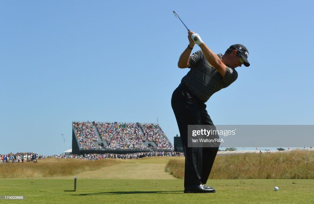 Lee Westwood of England tees off on the 16th hole during the second round of the 142nd Open Championship at Muirfield on July 19, 2013 in Gullane, Scotland.