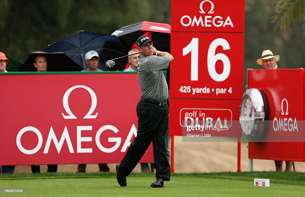 Lee Westwood of England tees off on the 16th hole during the third round of the Omega Dubai Desert Classic at Emirates Golf Club on February 2, 2013 in Dubai, United Arab Emirates.
