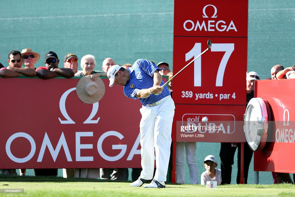 Lee Westwood of England tees off on the 17th hole during the final round of the Omega Dubai Desert Classic at Emirates Golf Club on February 3, 2013 in Dubai, United Arab Emirates.