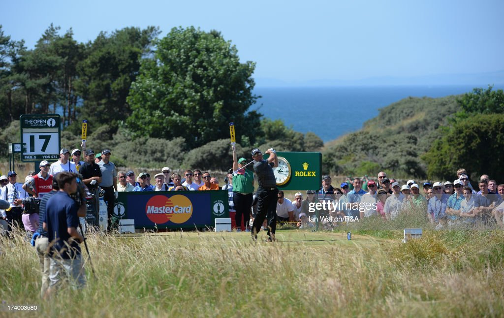 Lee Westwood of England tees off on the 17th hole during the second round of the 142nd Open Championship at Muirfield on July 19, 2013 in Gullane, Scotland.