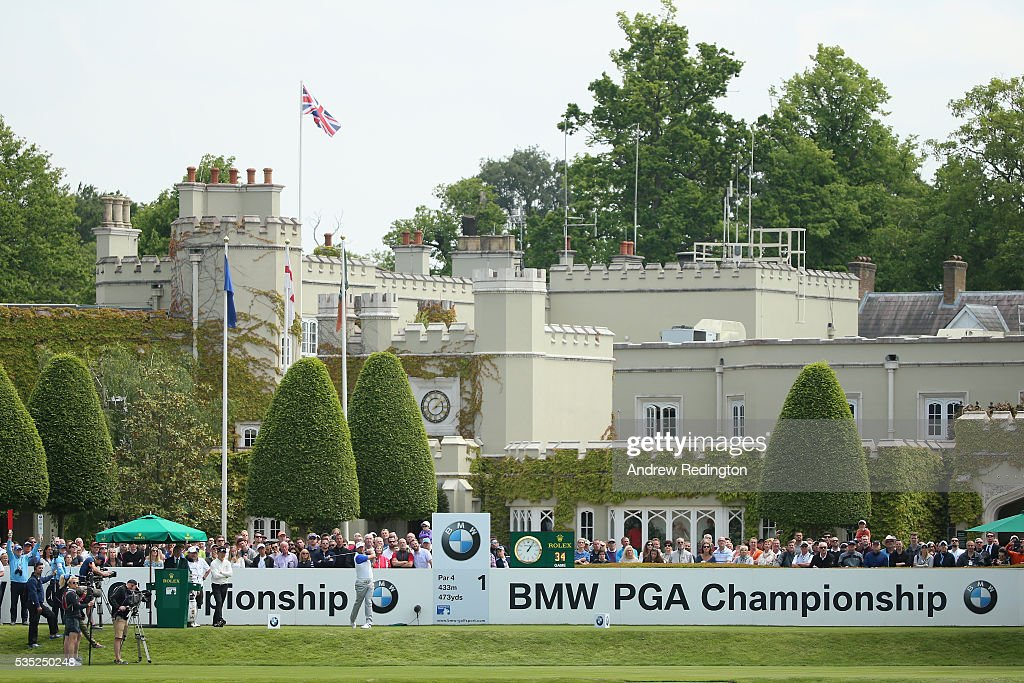 <a gi-track='captionPersonalityLinkClicked' href=/galleries/search?phrase=Lee+Westwood&family=editorial&specificpeople=171611 ng-click='$event.stopPropagation()'>Lee Westwood</a> of England tees off on the 1st hole during day four of the BMW PGA Championship at Wentworth on May 29, 2016 in Virginia Water, England.