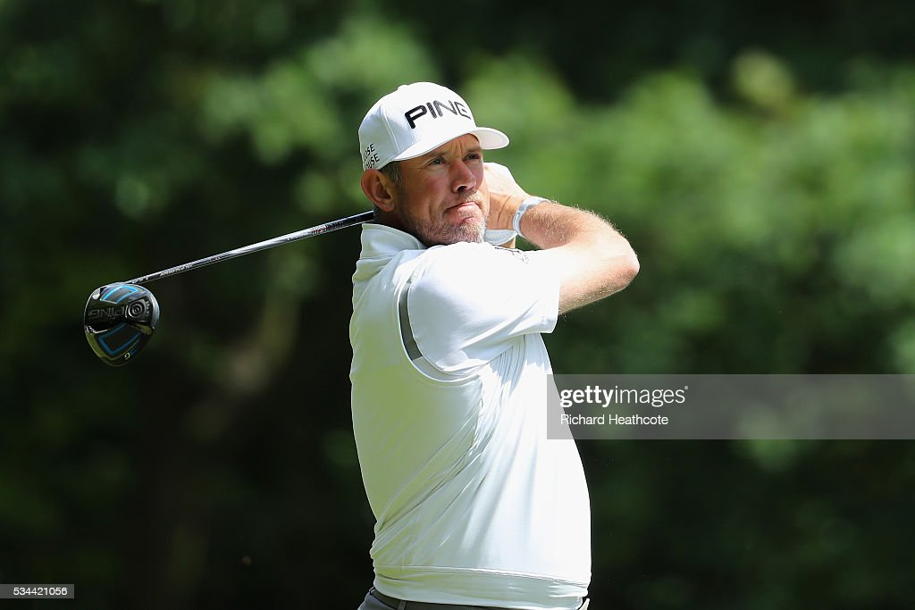<a gi-track='captionPersonalityLinkClicked' href=/galleries/search?phrase=Lee+Westwood&family=editorial&specificpeople=171611 ng-click='$event.stopPropagation()'>Lee Westwood</a> of England tees off on the 3rd hole during day one of the BMW PGA Championship at Wentworth on May 26, 2016 in Virginia Water, England.