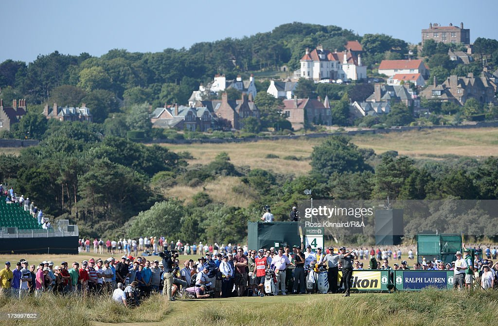 Lee Westwood of England tees off on the 4th hole during the second round of the 142nd Open Championship at Muirfield on July 19, 2013 in Gullane, Scotland.