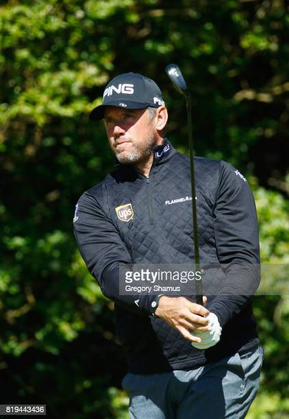 Lee Westwood of England tees off on the 5th hole during the first round of the 146th Open Championship at Royal Birkdale on July 20 2017 in Southport...