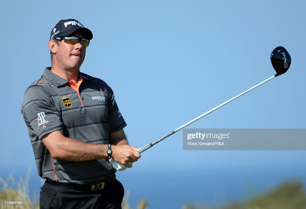 Lee Westwood of England tees off on the 5th hole during the second round of the 142nd Open Championship at Muirfield on July 19, 2013 in Gullane, Scotland.