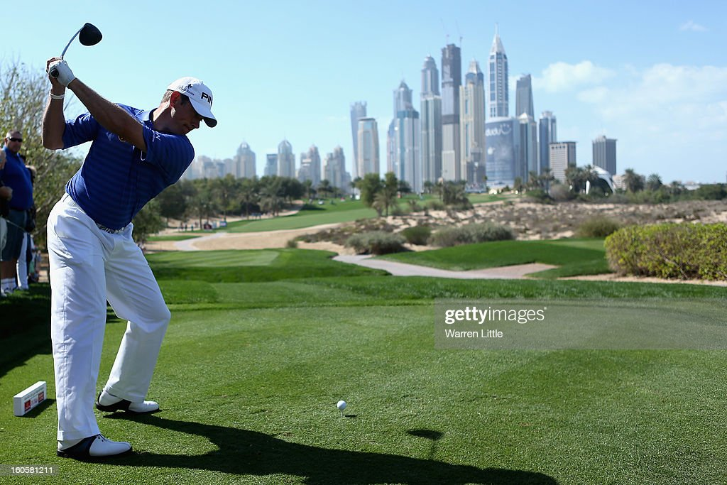 Lee Westwood of England tees off on the eighth hole during the final round of the Omega Dubai Desert Classic at Emirates Golf Club on February 3, 2013 in Dubai, United Arab Emirates.