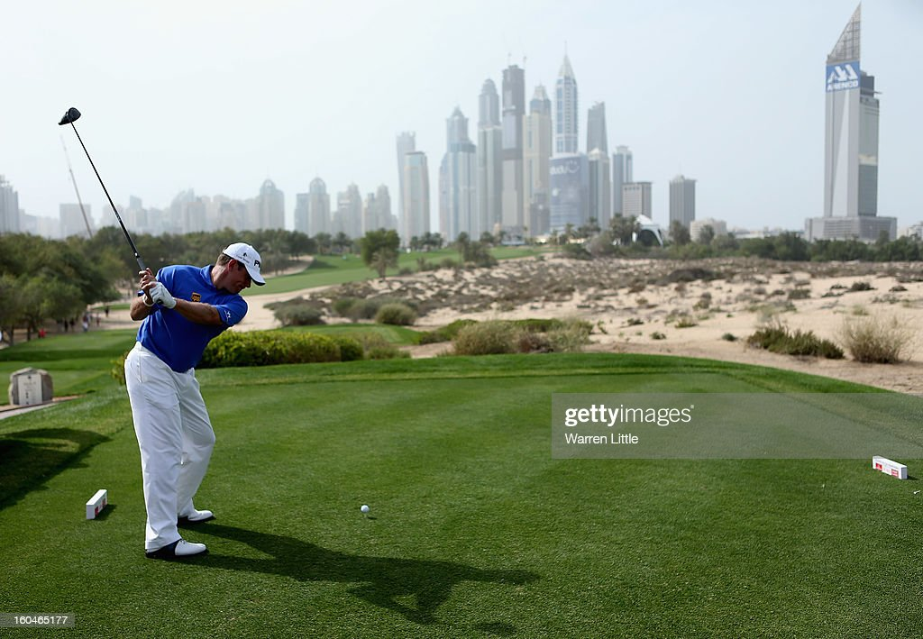 Lee Westwood of England tees off on the eighth hole during the second round of the Omega Dubai Desert Classic at Emirates Golf Club on February 1, 2013 in Dubai, United Arab Emirates.