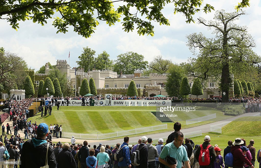 Lee Westwood of England tees off on the first hole during the third round of the BMW PGA Championship on the West Course at Wentworth on May 25, 2013 in Virginia Water, England.