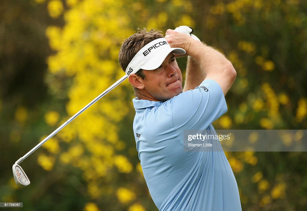 Lee Westwood of England tees off on the seventh hole during the final round of the Open de France ALSTOM at the Le Golf National Golf Club on June 29...