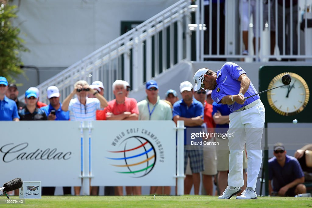 Lee Westwood of England tees off on the tenth hole during the first round of the World Golf Championships-Cadillac Championship at Trump National Doral Blue Monster Course on March 5, 2015 in Doral, Florida. Westwood tees off to his 50th World Golf Championships.
