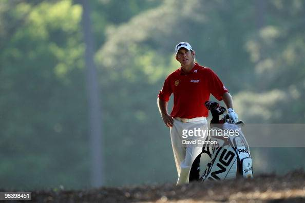 Lee Westwood of England waits on the 13th hole during the final round of the 2010 Masters Tournament at Augusta National Golf Club on April 11 2010...