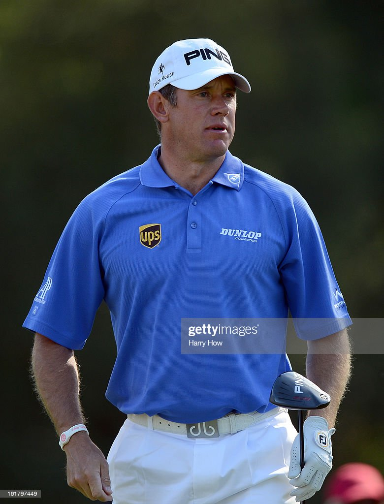 Lee Westwood of England watches his shot on the second hole during the third round of the Northern Trust Open at the Riviera Country Club on February 16, 2013 in Pacific Palisades, California.