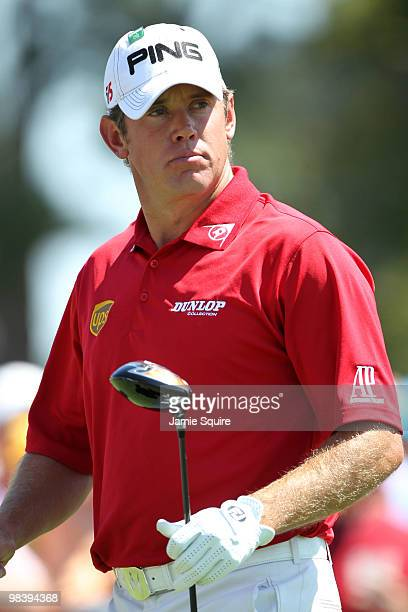 Lee Westwood of England watches his tee shot on the first tee during the final round of the 2010 Masters Tournament at Augusta National Golf Club on...