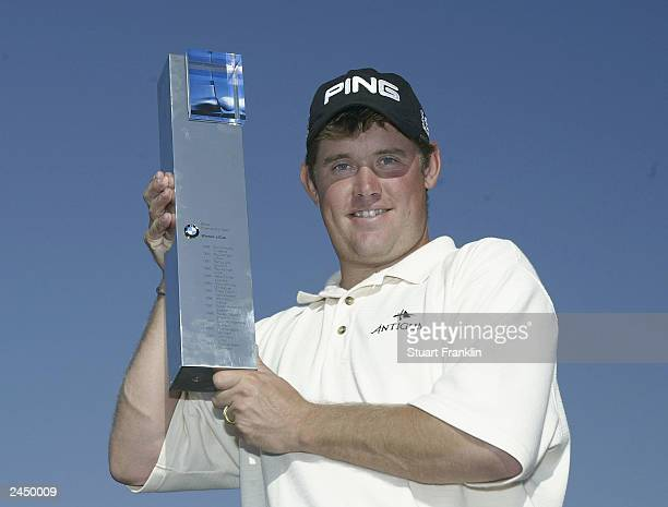 Lee Westwood of England with the trophy for winning The BMW International on August 31 2003 at the Munich Golf Club Nord Eichenried Munich Germany