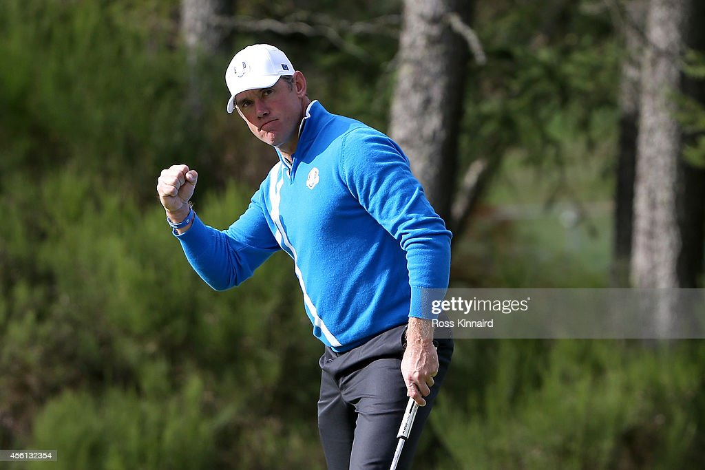 <a gi-track='captionPersonalityLinkClicked' href=/galleries/search?phrase=Lee+Westwood&family=editorial&specificpeople=171611 ng-click='$event.stopPropagation()'>Lee Westwood</a> of Europe celebrates a birdie on the 6th green during the Afternoon Foursomes of the 2014 Ryder Cup on the PGA Centenary course at the Gleneagles Hotel on September 26, 2014 in Auchterarder, Scotland.