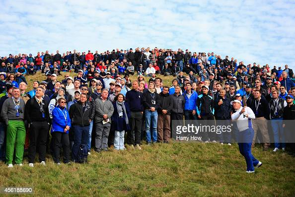 Lee Westwood of Europe plays from the rough on the 3rd hole during the Afternoon Foursomes of the 2014 Ryder Cup on the PGA Centenary course at the...