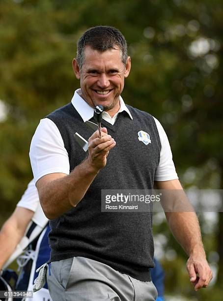 Lee Westwood of Europe reacts during practice prior to the 2016 Ryder Cup at Hazeltine National Golf Club on September 29 2016 in Chaska Minnesota