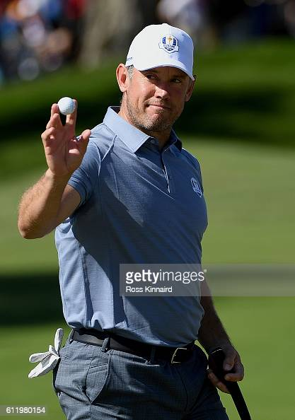 Lee Westwood of Europe reacts on the first green during singles matches of the 2016 Ryder Cup at Hazeltine National Golf Club on October 2 2016 in...