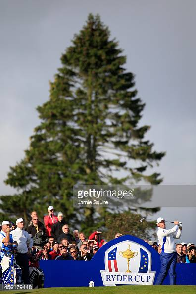 Lee Westwood of Europe tees off on the 10th hole during the Morning Fourballs of the 2014 Ryder Cup on the PGA Centenary course at the Gleneagles...