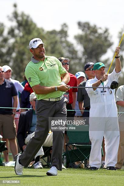 Lee Westwood tees off during the 2015 Masters Tournament at the Augusta National Golf Club in Augusta Georgia