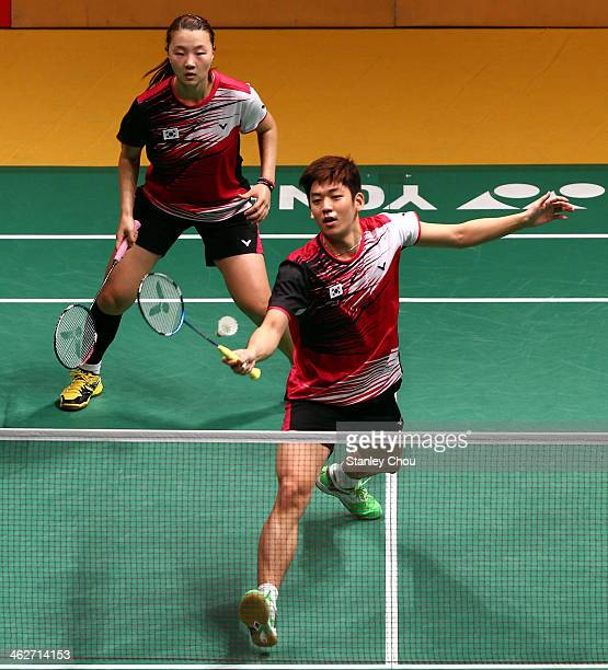 Lee Yong Dae and Shin Seung Chan of South Korea in action during day two of the Mixed Doubles of the Malaysia Badminton Open at the Putra Indoor...