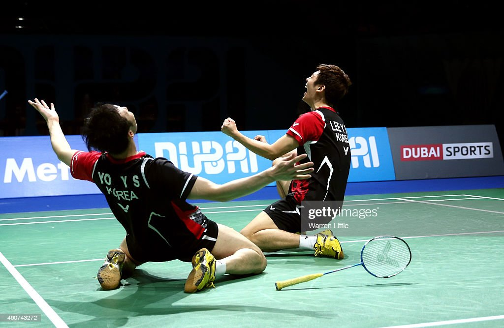 Lee Yong Dae and Yoo Yeon Seong of Korea celebrate beating Chai Biao and Hong Wei of China in the Men's Doubles Finals on day five of the BWF Destination Dubai World Superseries Finals at the Hamdan Sports Complex on December 21, 2014 in Dubai, United Arab Emirates.