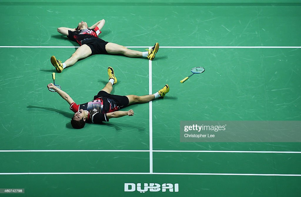 Lee Yong Dae and Yoo Yeon Seong of Korea celebrate their victory over Chai Baio and Hong Wei of China in the Mens Doubles Final during day five of the BWF Destination Dubai World Superseries Finals at the Hamdan Sports Complex on December 21, 2014 in Dubai, United Arab Emirates.