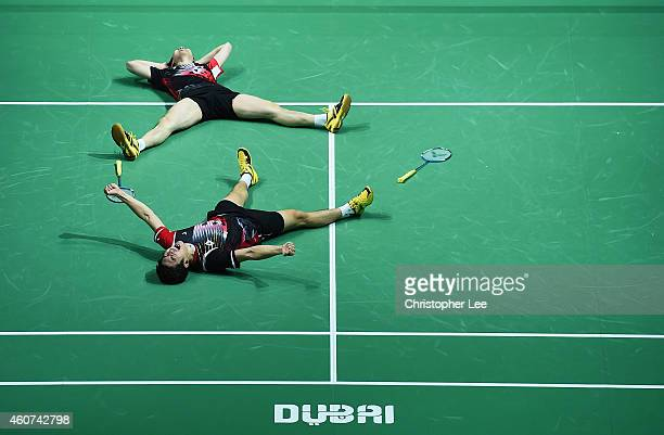 Lee Yong Dae and Yoo Yeon Seong of Korea celebrate their victory over Chai Baio and Hong Wei of China in the Mens Doubles Final during day five of...