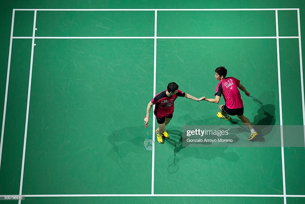 Lee Yong Dae and Yoo Yeon Seong of Korea celebrates in the Men's Doubles match against Mohammad Ahsan and Hendra Setiawan of Indonesia during day two of the BWF Dubai World Superseries 2015 Finals at the Hamdan Sports Complex on December 10, 2015 in Dubai, United Arab Emirates.