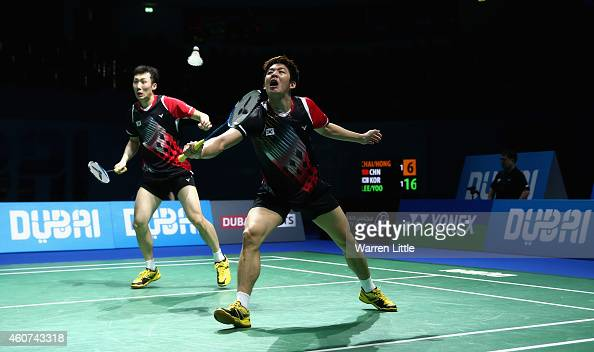 Lee Yong Dae and Yoo Yeon Seong of Korea en route to beating Chai Biao and Hong Wei of China in the Men's Doubles Finals on day five of the BWF...