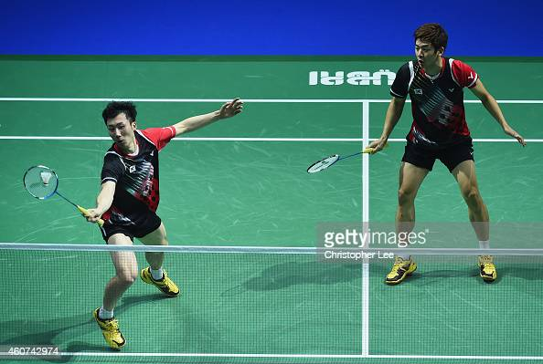 Lee Yong Dae and Yoo Yeon Seong of Korea in action against Chai Baio and Hong Wei of China in the Mens Doubles Final during day five of the BWF...