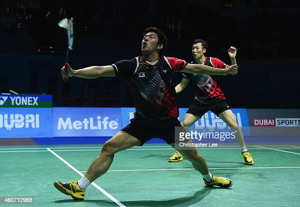 Lee Yong Dae and Yoo Yeon Seong of Korea in action against Mathias Boe and Carsten Mogensen of Denmark in the Mens Double Semi Final during the BWF...