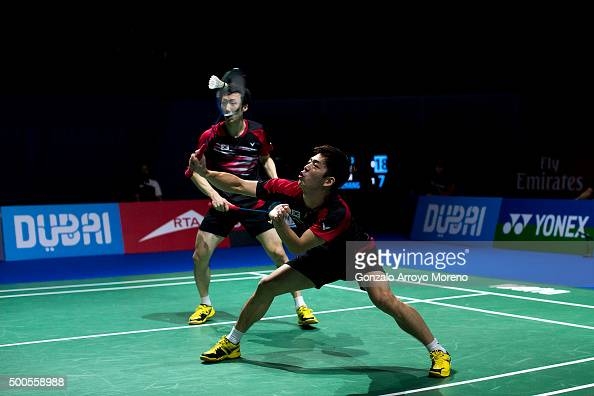 Lee Yong Dae and Yoo Yeon Seong of Korea in action in the men's doubles match agianst Fu Haifeng and Zhang Nan of China during day one of the BWF...