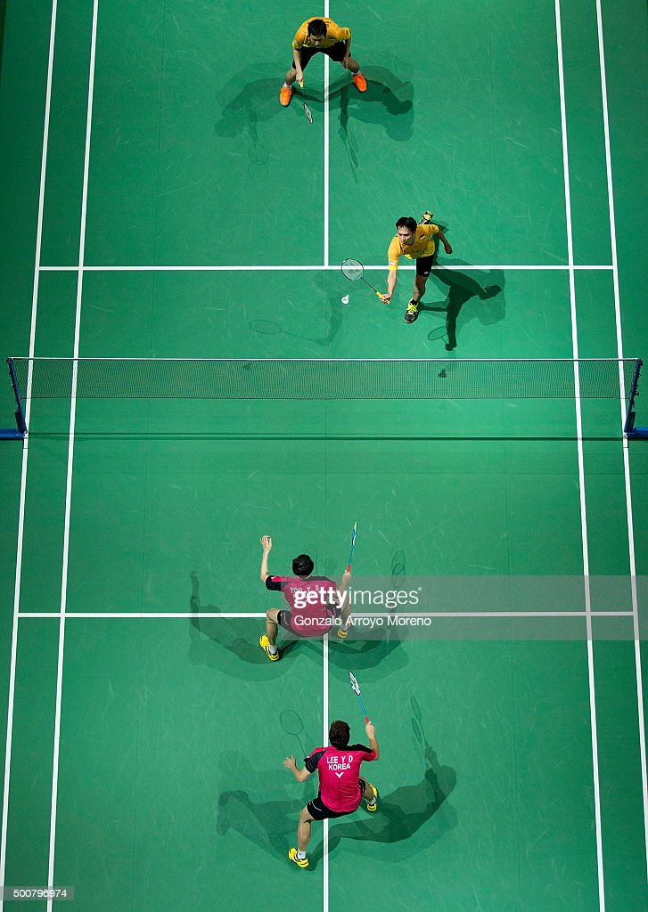 Lee Yong Dae and Yoo Yeon Seong of Korea in action in the Men's Doubles match against Mohammad Ahsan and <a gi-track='captionPersonalityLinkClicked' href=/galleries/search?phrase=Hendra+Setiawan&family=editorial&specificpeople=2237241 ng-click='$event.stopPropagation()'>Hendra Setiawan</a> of Indonesia during day two of the BWF Dubai World Superseries 2015 Finals at the Hamdan Sports Complex on December 10, 2015 in Dubai, United Arab Emirates.