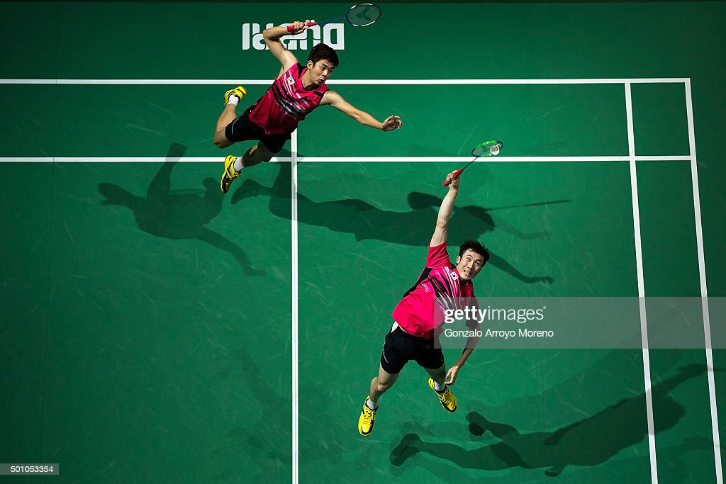 Lee Yong Dae and Yoo Yeon Seong of Korea in action in the Semifinal Men's Doubles match against Mohammad Ahsan and Hendra Setiawan of Indonesia during day four of the BWF Dubai World Superseries 2015 Finals at the Hamdan Sports Complex on on December 12, 2015 in Dubai, United Arab Emirates.
