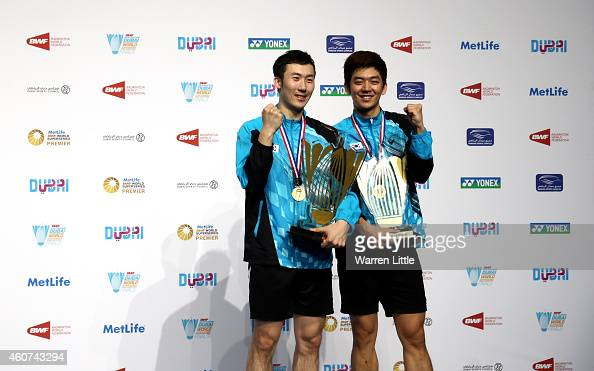 Lee Yong Dae and Yoo Yeon Seong of Korea poses with their trophies after beating Chai Biao and Hoing Wei of China in the Men's Doubles Final on day...