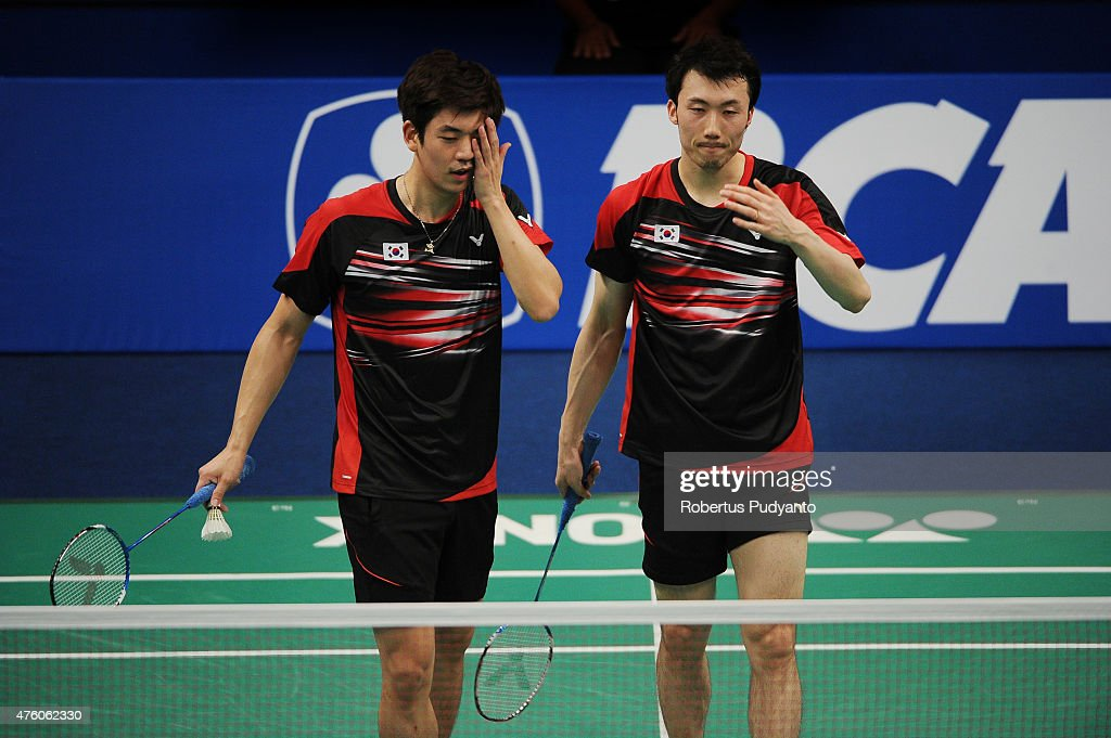 Lee Yong Dae and Yoo Yeon Seong of Korea react after defeated by Ko Sung Hyun and Shin Baek Choel of Korea during the 2015 BCA Indonesia Open Semifinals match at Istora Senayan on June 6, 2015 in Jakarta, Indonesia.