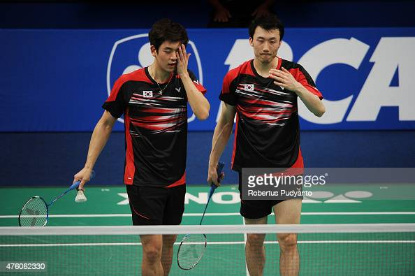 Lee Yong Dae and Yoo Yeon Seong of Korea react after defeated by Ko Sung Hyun and Shin Baek Choel of Korea during the 2015 BCA Indonesia Open...