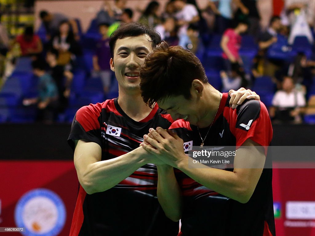 Lee Yong Dae and Yoo Yeon Seong of Korea reacts after the match between Yoo Yeon Seong and Lee Yong Dae and Mathias Boe and Carsten Mogensen of Denmark at the final round of Men's Double of Yonex-Sunsrise Hong Kong Open 2015 on November 22, 2015 in Hong Kong, Hong Kong.