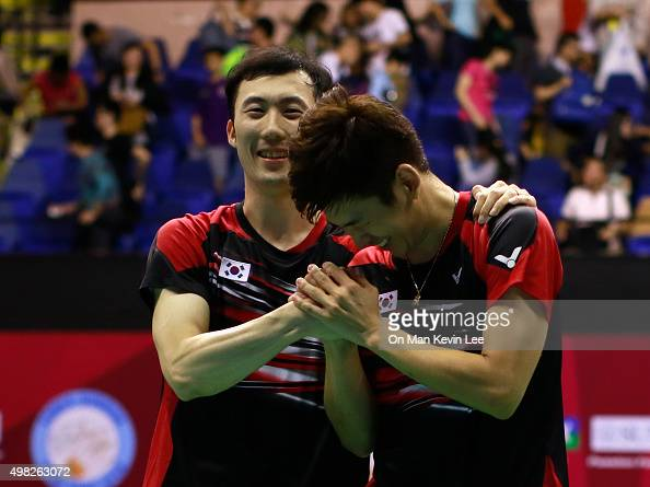 Lee Yong Dae and Yoo Yeon Seong of Korea reacts after the match between Yoo Yeon Seong and Lee Yong Dae and Mathias Boe and Carsten Mogensen of...